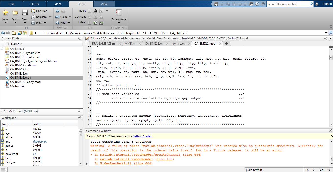 Error using dynare (line 172) - Macroeconomic Model Data Base